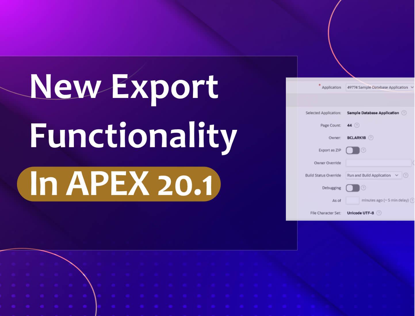 new export functionalitiy in apex 20.1